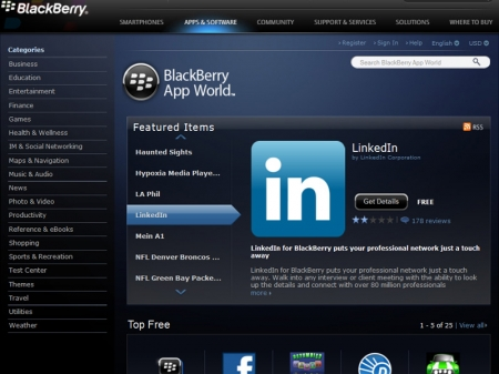 Shpaloset Blackberry App World për PC