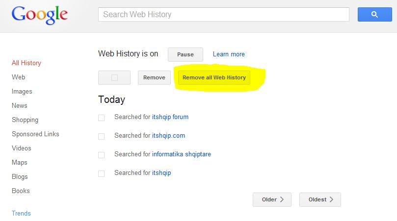 Si të fshini historinë në Google Web History Google-history
