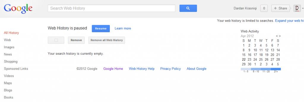 Si të fshini historinë në Google Web History Google-history1-1024x345